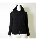 パーカー ジャケット ニット ウール フード ジップアップ 長袖 XS 5 黒 ブラック 小さいサイズ