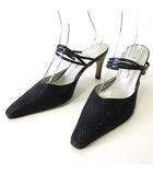 ミュール サンダル ハイヒール アンクルベルト 24.5㎝ 黒 ブラック くつ 靴 シューズ
