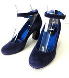 パンプス 本革 スエード レザー アンクルストラップ スカラップ ヒール 刺繍 22.5㎝ 紫 ダークパープル 青 くつ 靴 シューズ