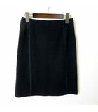 スカート ニットスカート 台形 ひざ丈 S 36 黒 ブラック