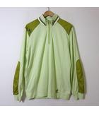 ライカ ポロシャツ キャラクター 刺繍 ボーダー ナイロン 切り替え ハーフジップ 長袖 XL 50 黄緑 緑 白