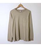 Tシャツ ロンT コットン ポケット ロゴ 刺繍 長袖 L ライトベージュ