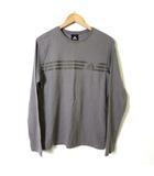Tシャツ クルーネック コットン 100% 3本 ライン ロゴ プリント トレーニング ウエア 長袖 M グレー