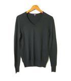 ニット セーター エクストラファイン メリノ ウール Vネック 長袖 S 緑 モスグリーン 美品