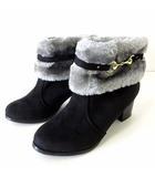 クロッシー CLOSSHI ブーツ ショートブーツ ブーティ ファー スエード調 M 黒 ブラック グレー 23.0㎝ くつ 靴 シューズ