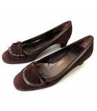 サルヴァトーレフェラガモ Salvatore Ferragamo パンプス 本革 スエード レザー フリンジ 4.5 D ダークブラウン こげ茶色 ブロンズ 21.5㎝ くつ 靴 シューズ 小さいサイズ