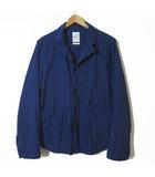 クオドロ quadro ジャケット ワークジャケット シワ加工 コットン 長袖 L 3 紺 ネイビー 日本製