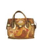 グレースコンチネンタル GRACE CONTINENTAL カービングバッグ ハンドバッグ かばん 鞄 レザー 型押し ブラウン