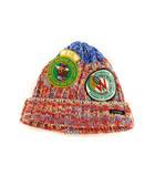 DENIM DUNGAREE デニムダンガリー ワッペン ニット帽 ニットキャップ ワッチ 帽子 MIXニット レッド ブルー 赤 キッズ 子供用