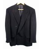 ファリアーニ FARIANI GERMANY ダブル スーツ セットアップ 上下セット タック 礼服 フォーマル 総裏 無地 黒 ブラック ウール