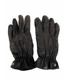 ジョルジオアルマーニ GIORGIO ARMANI レザー グローブ 手袋 羊革 ラムレザー 裏地カシミヤ 黒 ブラック サイズM
