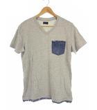 ディーゼル DIESEL トップス Tシャツ 半袖 Vネック デニムポケット レイヤード 切りっ放し グレー インディゴ S