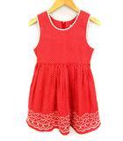 シャーリーテンプル Shirley Temple ノースリーブ ワンピース ドット ハート刺繍 フレア ギャザー 赤 白 レッド ホワイト サイズ130 子供服