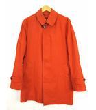 ミツミネ MITSUMINE ステンカラーコート 中綿ライナー付 上着 アウター コットン 無地 オレンジ L