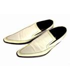 コムサメン COMME CA MEN レザー シューズ スリッポン 革 靴 ロングノーズ サイズ26cm 白 ホワイト アイボリー 日本製