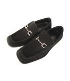 グッチ GUCCI レザー シューズ ローファー スリッポン スエード ビット スクエアトゥ 革 靴 サイズ41E 黒 ブラック イタリア製