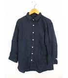 ビームス BEAMS トップス シャツ 麻 リネン 無地 ワイヤー襟 七分袖 ネイビー 紺 S