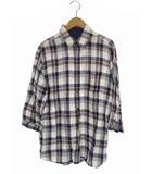 タケオキクチ TAKEO KIKUCHI トップス シャツ リネン 麻 チェック柄 七分袖 ホワイトベース 白 紺 茶 3