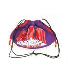 キャセリーニ casselini 巾着 バッグ ポーチ メッシュ プリント 紫 赤 白