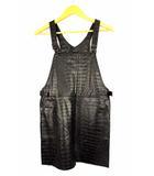 エモダ EMODA ジャンパースカート オーバーオール フェイクレザー 合成皮革 クロコ型押し ミニ 黒 M