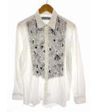 エトロ ETRO 長袖 シャツ ペイズリー プリント 刺繍 綿 コットン 白 黒 ホワイト ブラック サイズL