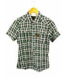 ジースターロウ G-Star RAW 半袖 チェック シャツ 綿 コットン サイズS グリーンベース 緑ベース