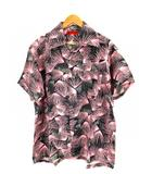 エヴィス EVISU ヤマネ YAMANE トップス アロハシャツ 半袖 総柄 レーヨン ピンク 黒 40