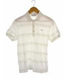 ラコステ LACOSTE 半袖 ポロシャツ ボーダー ヘリンボーン ワンポイントワッペン DH293E 白 ホワイト サイズ4 綿 コットン
