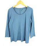 ヨーガンレール JURGEN LEHL 七分袖 カットソー Tシャツ 綿 絹 コットン シルク 無地 ブルー 青 サイズL