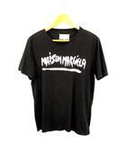 メゾンマルジェラ Maison Margiela 半袖 Tシャツ カットソー ロゴプリント ペイントプリント 黒 ブラック サイズ48