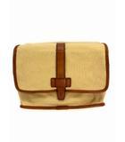 フォッシル FOSSIL セカンドバッグ クラッチバッグ フラップ マグネットボタン キャンバス レザー ベージュ系 ブラウン 鞄 カバン