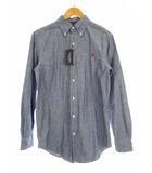 ジムフレックス Gymphlex トップス ボタンダウンシャツ 長袖 シャンブレー ロゴ 刺繍 ワンポイント J-0643 ブルー M