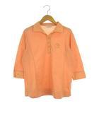 アダバット adabat ポロシャツ 鹿の子 トップス カットソー ハーフボタン 七分袖 オレンジ ゴルフウェア