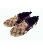 グッチ GUCCI スリッポン シューズ GG柄 キャンバス レザー ベージュ系 ブラウン サイズ30 子供靴 チルドレンズコレクション