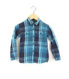 トミーヒルフィガー TOMMY HILFIGER チェック柄 シャツ コットン チェックシャツ 長袖 ブルー ネイビー 青 サイズ4 子供服