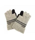 バーバリーブラックレーベル BURBERRY BLACK LABEL 手袋 ニット 5本指 ボーダー グレー 黒