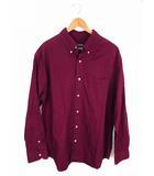 チャップス CHAPS トップス シャツ ボタンダウン コットン100% ワンポイント 刺繍 長袖 エンジ色 赤系 XL