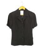 エル ELLE 半袖 ジャケット パンツ セットアップ スーツ 上下セット 黒 ブラック 38