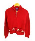 ラルフローレン RALPH LAUREN ジップアップ ニット セーター ジャケット カーディガン ショールカラー ウール リネン 麻 長袖 赤 レッド サイズ160 子供服 ジュニア
