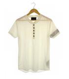 ジュンハシモト junhashimoto nano LIBRARY トップス カットソー Tシャツ ヘンリーネック 半袖 白 シルバー L