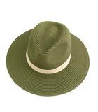 プラステ PLST ハット 帽子  つば広 中折れ カーキグリーン アイボリー 緑系