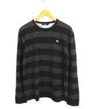 バーバリーブラックレーベル BURBERRY BLACK LABEL トップス ニット セーター 長袖 コットン ボーダー ロゴ 刺繍 黒 チャコール 2