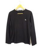 バーバリーブラックレーベル BURBERRY BLACK LABEL トップス Tシャツ 長袖 ロンT Vネック ロゴ 刺繍 ワンポイント コットン 黒 グレー 2