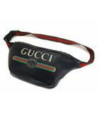 グッチ GUCCI グッチ プリント レザー ベルトバッグ 493869 革 ウエストバッグ ボディバッグ 鞄 カバン 黒 ブラック