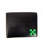 オフホワイト OFF WHITE 二つ折り財布 ウォレット レザー 革 クロスアロー 黒 緑 ブラック グリーン ☆AA★