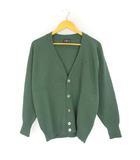 ラルフローレン RALPH LAUREN ウール ニット カーディガン ポニー刺繍 ワンポイント 長袖 グリーン 緑 L