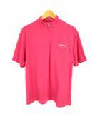 キャロウェイ CALLAWAY ゴルフウェア 半袖 カットソー Tシャツ スタンドカラー ハーフジップ ワンポイント刺繍 ピンク サイズLL 綿 コットン ストレッチ