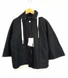ヒューマンウーマン HUMAN WOMAN ジャケット ブルゾン 七分袖 上着 アウター フード コットン リネン 無地 077-6155120 紺 白 M