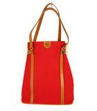イルビゾンテ IL BISONTE キャンバス レザー トートバッグ ショルダーバッグ かばん 鞄 赤 レッド 茶 ブラウン