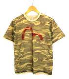 エヴィス EVISU トップス Tシャツ メッシュ レイヤード 半袖 ロゴ 迷彩 緑 ベージュ 38